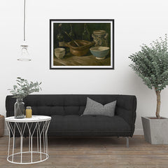 Ezposterprints - Still Life With Earthenware And Bottles | Van Gogh Art Reproduction - 32x24 ambiance display photo sample