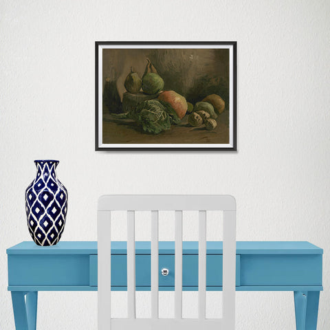 Ezposterprints - Still Life With Vegetables And Fruit | Van Gogh Art Reproduction - 16x12 ambiance display photo sample