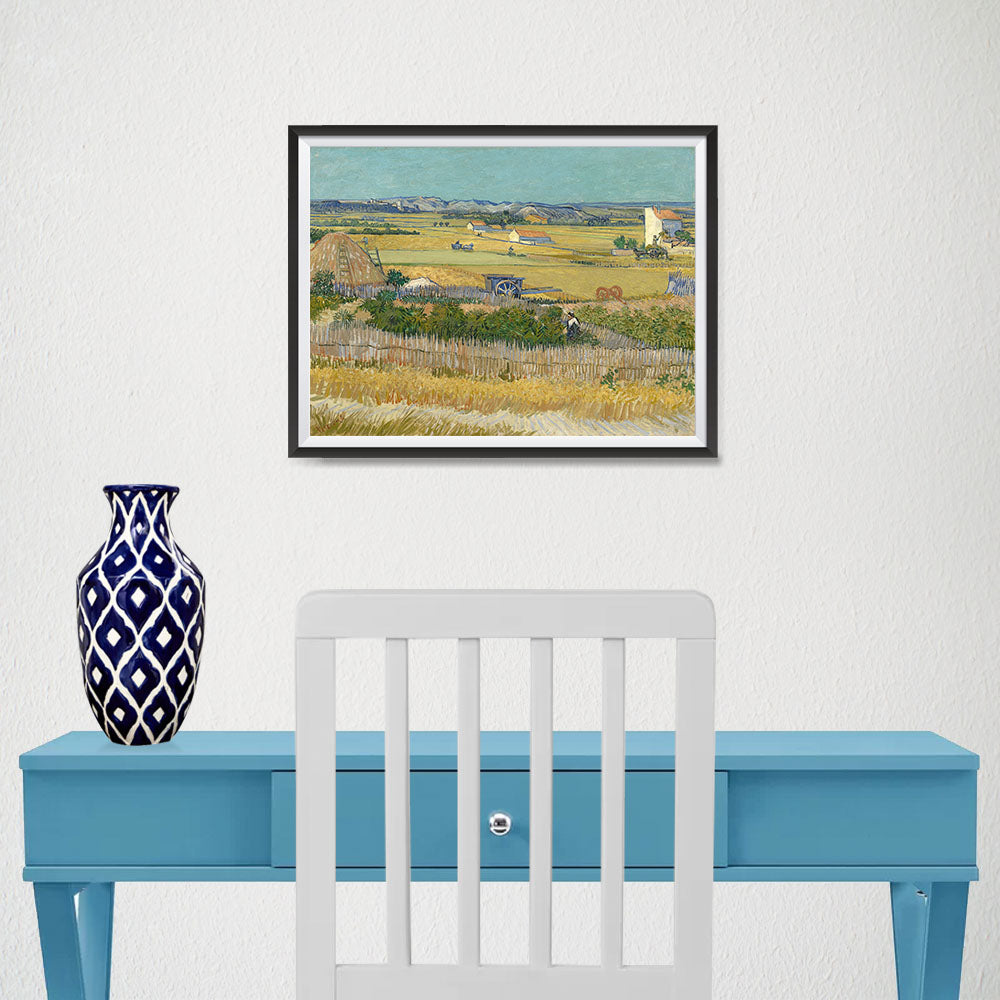 Ezposterprints - The Harvest | Van Gogh Art Reproduction - 16x12 ambiance display photo sample