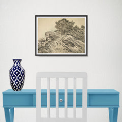 Ezposterprints - The Rock Of Montmajour With Pine Trees | Van Gogh Art Reproduction - 16x12 ambiance display photo sample
