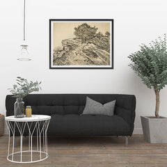 Ezposterprints - The Rock Of Montmajour With Pine Trees | Van Gogh Art Reproduction - 32x24 ambiance display photo sample