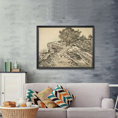 Ezposterprints - The Rock Of Montmajour With Pine Trees | Van Gogh Art Reproduction - 48x36 ambiance display photo sample