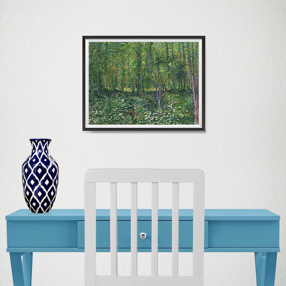 Ezposterprints - Trees And Undergrowth | Van Gogh Art Reproduction - 16x12 ambiance display photo sample