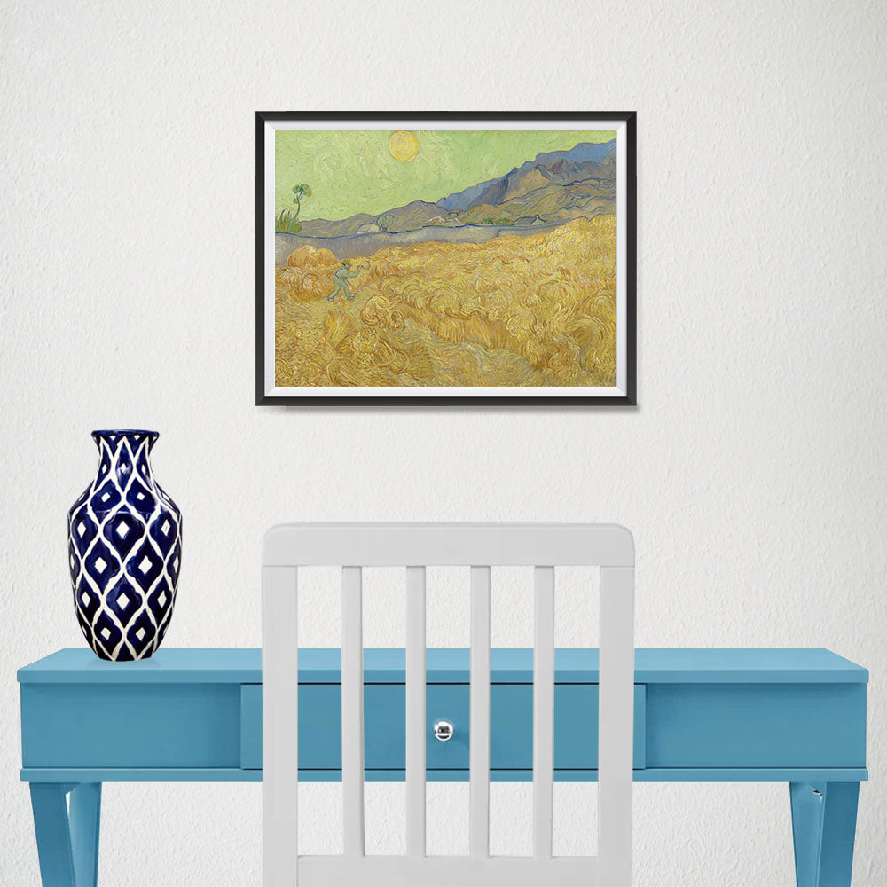 Ezposterprints - Wheatfield With A Reaper | Van Gogh Art Reproduction - 16x12 ambiance display photo sample