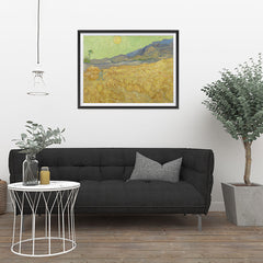 Ezposterprints - Wheatfield With A Reaper | Van Gogh Art Reproduction - 32x24 ambiance display photo sample