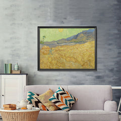 Ezposterprints - Wheatfield With A Reaper | Van Gogh Art Reproduction - 48x36 ambiance display photo sample