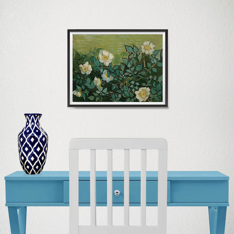 Ezposterprints - Wild Roses | Van Gogh Art Reproduction - 16x12 ambiance display photo sample