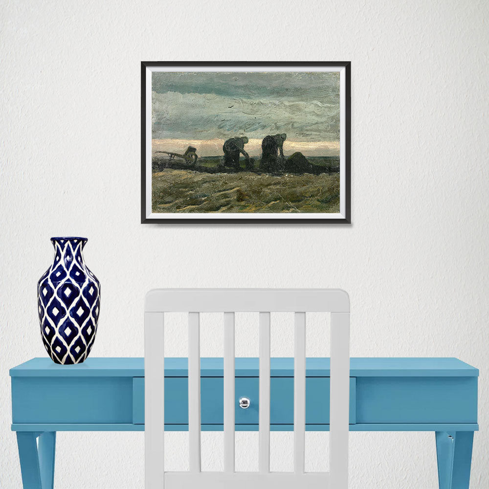 Ezposterprints - Women On The Peat Moor | Van Gogh Art Reproduction - 16x12 ambiance display photo sample
