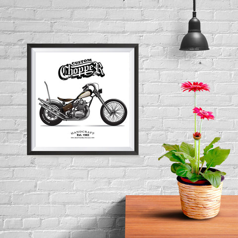 Ezposterprints - Custom Vintage Chopper - 10x10 ambiance display photo sample
