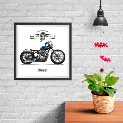Ezposterprints - Life Fast Die Last Vintage Chopper - 10x10 ambiance display photo sample