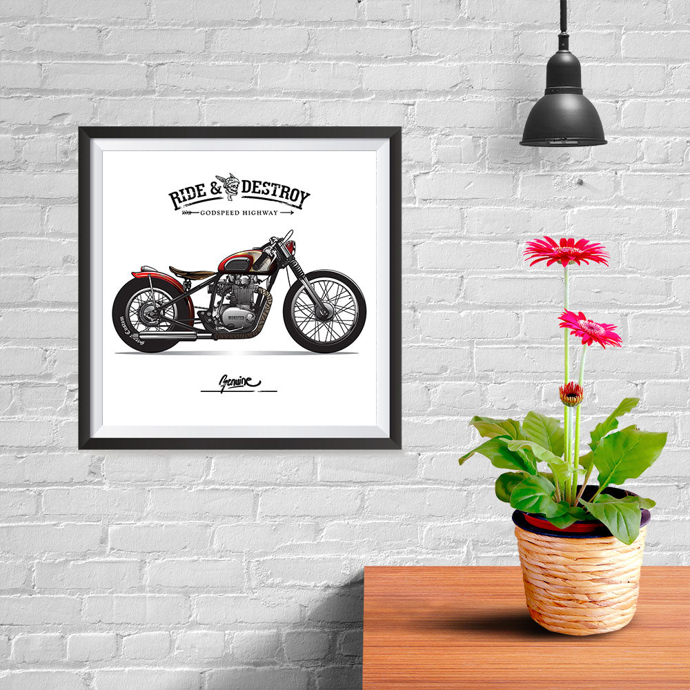 Ezposterprints - Speed Highway Vintage Chopper - 10x10 ambiance display photo sample