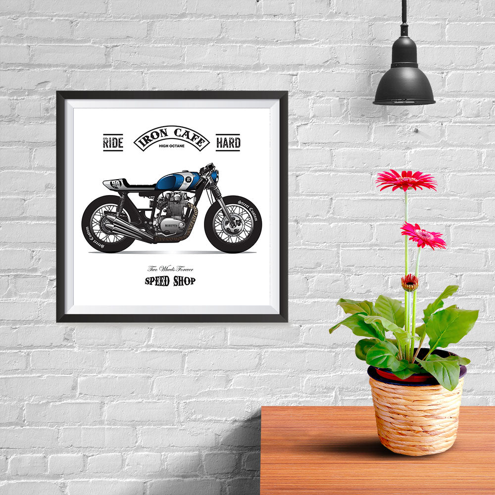 Ezposterprints - Two Wheels Forever Vintage Chopper - 10x10 ambiance display photo sample