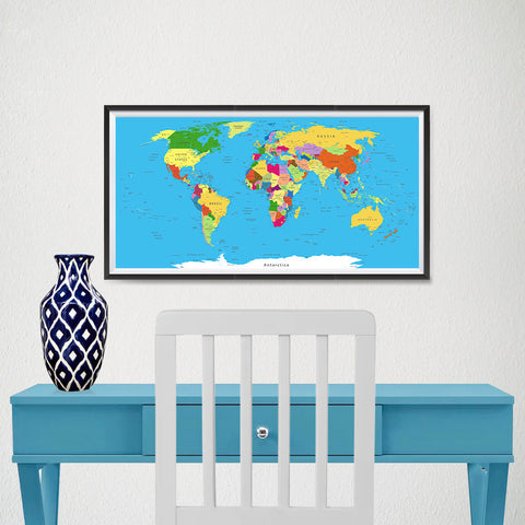 Ezposterprints - Classic World Map - Robinson projection - 24x12 ambiance display photo sample