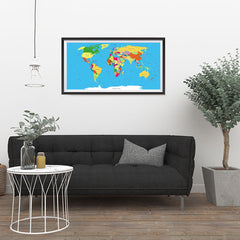 Ezposterprints - Classic World Map - Robinson projection - 36x18 ambiance display photo sample