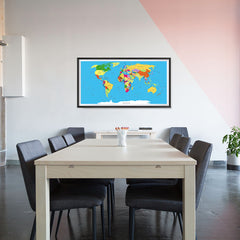 Ezposterprints - Classic World Map - Robinson projection - 48x24 ambiance display photo sample
