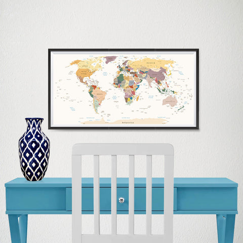 Ezposterprints - Retro World Map - Robinson projection - 24x12 ambiance display photo sample