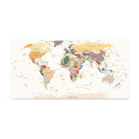 Ezposterprints - Retro World Map - Robinson projection