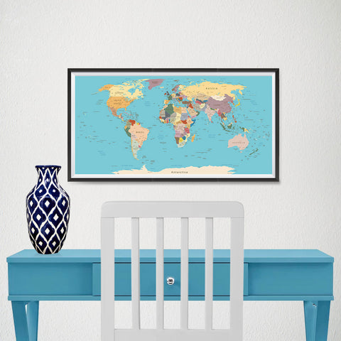 Ezposterprints - Vintage World Map - Robinson projection - 24x12 ambiance display photo sample