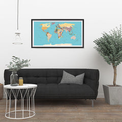 Ezposterprints - Vintage World Map - Robinson projection - 36x18 ambiance display photo sample