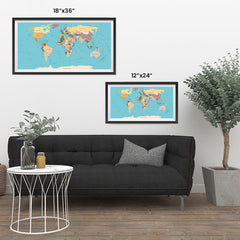 Ezposterprints - Vintage World Map - Robinson projection ambiance display photo sample