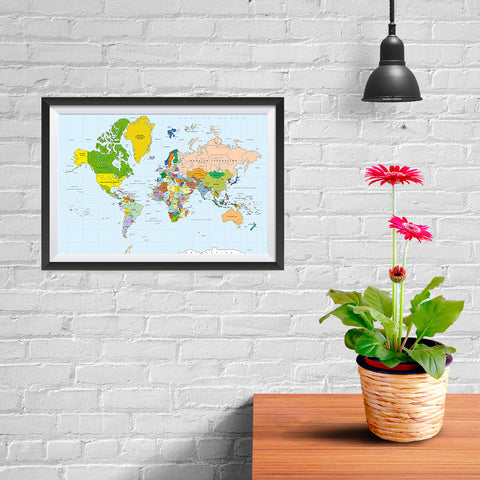 Ezposterprints - Classic World Map - Mercator projection - 12x08 ambiance display photo sample