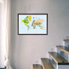 Ezposterprints - Classic World Map - Mercator projection - 24x16 ambiance display photo sample