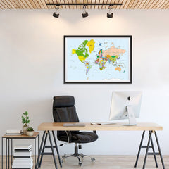 Ezposterprints - Classic World Map - Mercator projection - 36x24 ambiance display photo sample