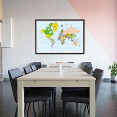 Ezposterprints - Classic World Map - Mercator projection - 48x32 ambiance display photo sample