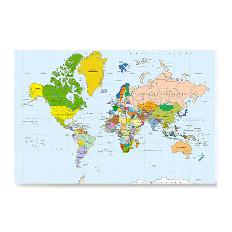 Ezposterprints - Classic World Map - Mercator projection