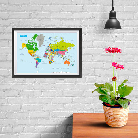 Ezposterprints - Vivid World Map - Mercator projection - 12x08 ambiance display photo sample