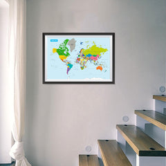 Ezposterprints - Vivid World Map - Mercator projection - 24x16 ambiance display photo sample