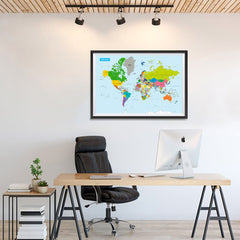 Ezposterprints - Vivid World Map - Mercator projection - 36x24 ambiance display photo sample