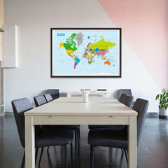 Ezposterprints - Vivid World Map - Mercator projection - 48x32 ambiance display photo sample