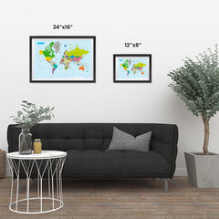 Ezposterprints - Vivid World Map - Mercator projection ambiance display photo sample