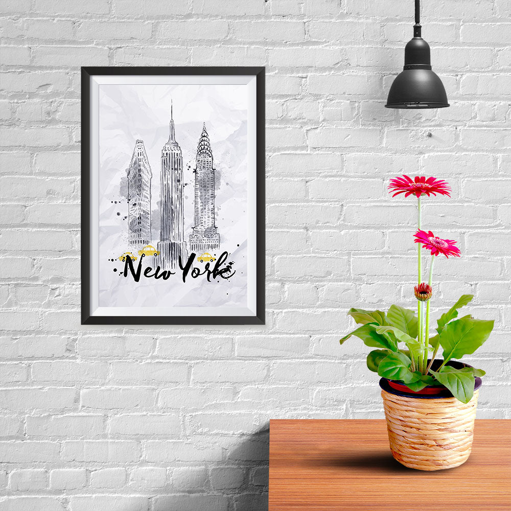 Ezposterprints - New York City Watercolor Poster - 08x12 ambiance display photo sample