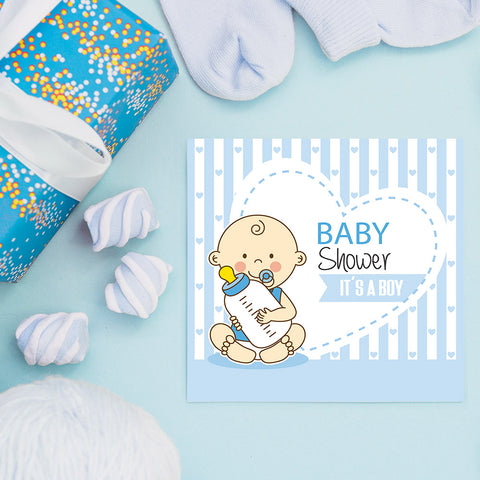 Baby Boy with Bottle, Baby Shower Decoration Poster ambiance display photo sample