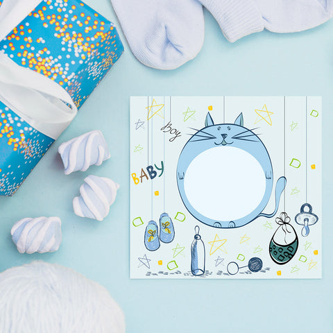 Baby Cat for Boys, Baby Shower Decoration Poster ambiance display photo sample