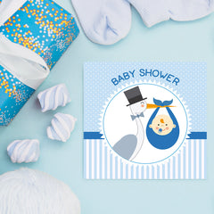 The Stork Brings a Baby Boy, Baby Shower Decoration Poster ambiance display photo sample