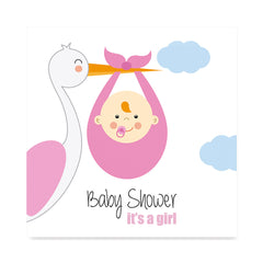 High quality The Stork Brings a Baby Girl, Baby Shower Decoration Poster poster prints