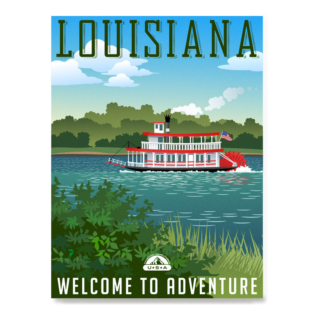 Ezposterprints - Retro Travel Poster Series: LOUISIANA,US