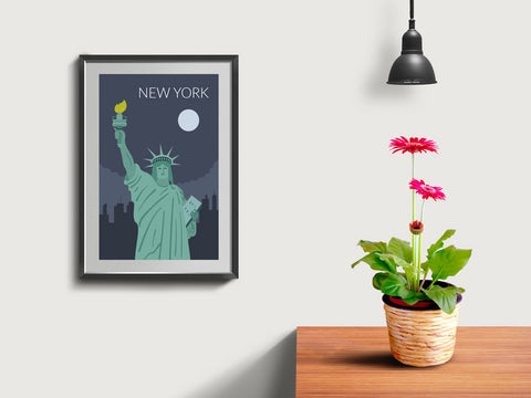 World Cities Retro Posters: New York ambiance display photo sample