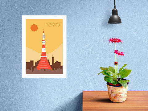 World Cities Retro Posters: Tokyo ambiance display photo sample
