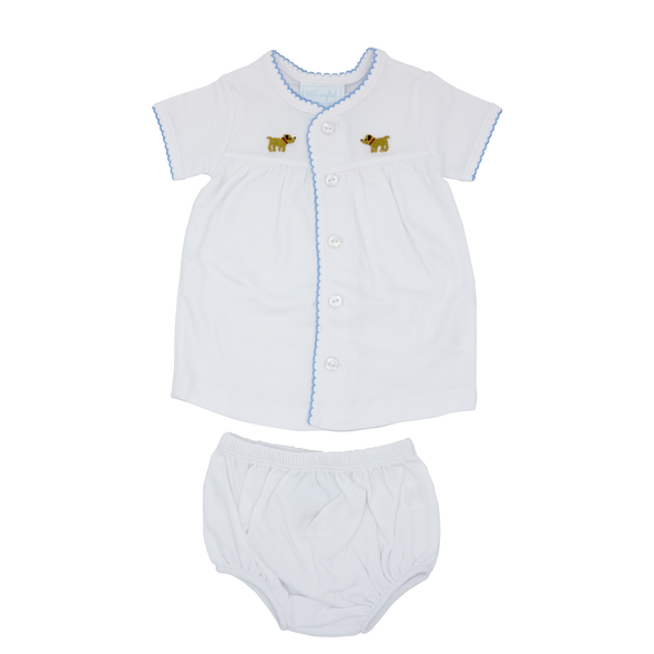Pinpoint Layette Knit Set- Lab