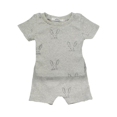 Bunny Charcoal Ink Oatmeal 2 PC Short Set