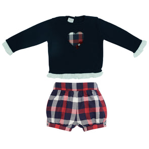 Baby Girls Knit Pullover & Woven Trousers Set