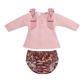 Baby Girls Knit Sweater & Woven Bloomers Set