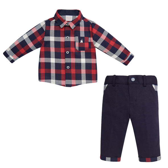 Baby Boys Woven Shirt & Trousers Set