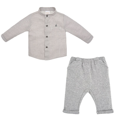 Baby Boys Grey Woven Shirt & Knit Trousers Set