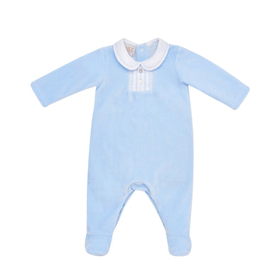 Baby Boys Blue Knit Romper
