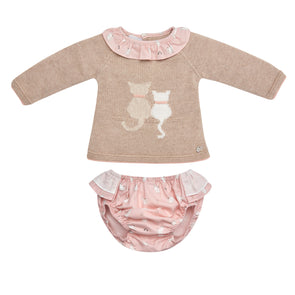 Baby Girls Cotton Knit Sweater & Woven Bloomers Set
